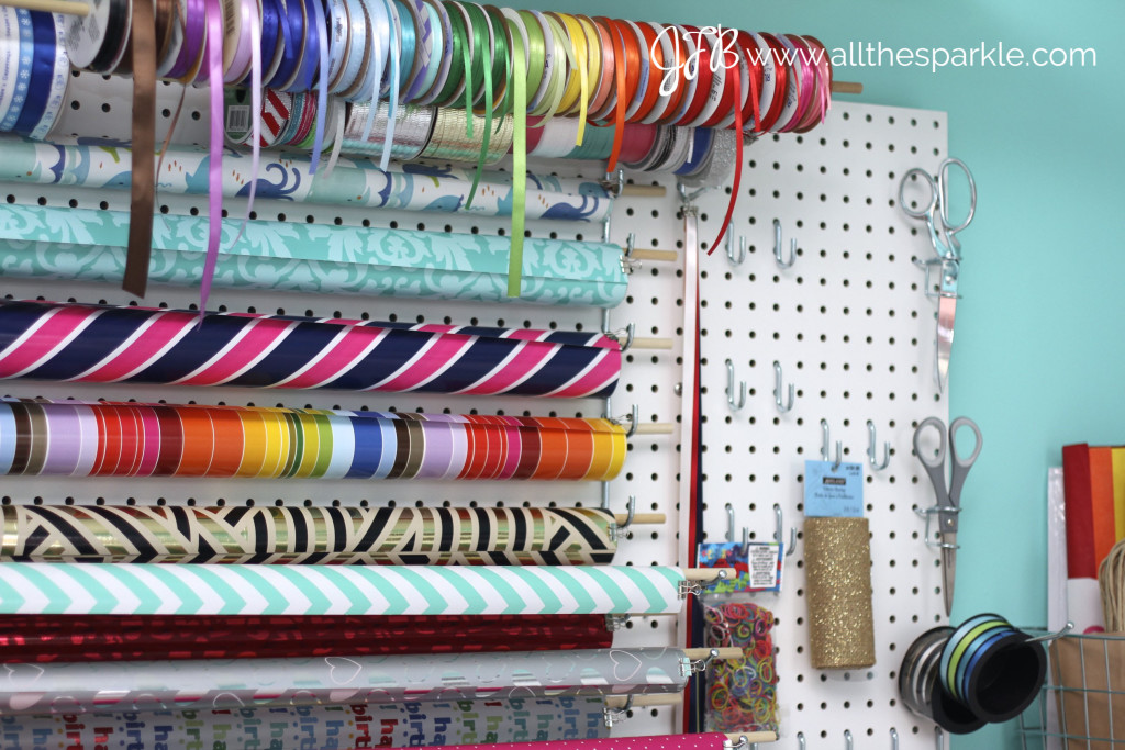 Pegboard gift wrapping station www.allthesparkle.com