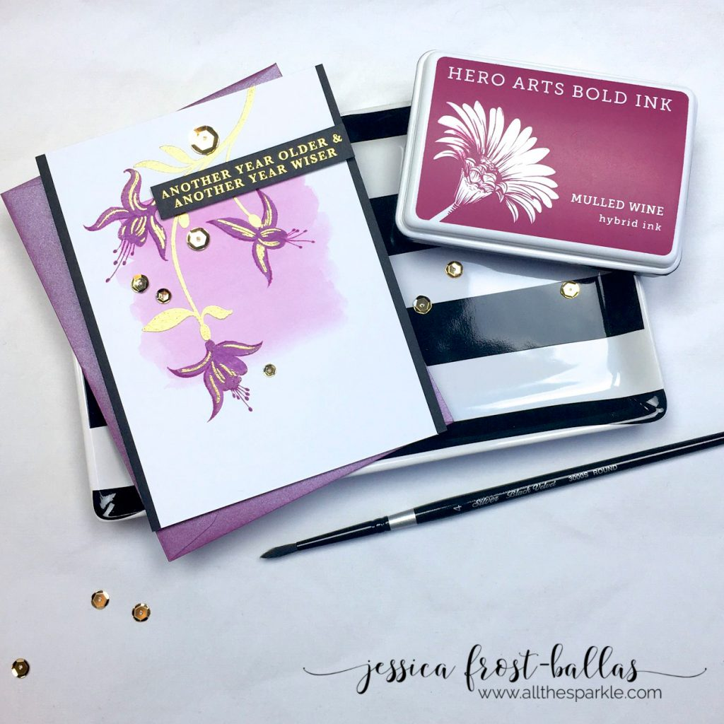 Fuchsia Birthday card by Jessica Frost-Ballas for Hero Arts