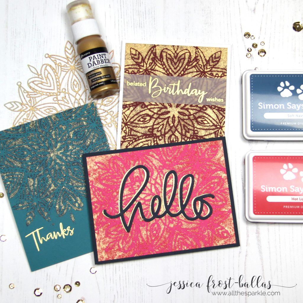 Faux Gold Leaf Stenciling by Jessica Frost-Ballas for Simon Says Stamp