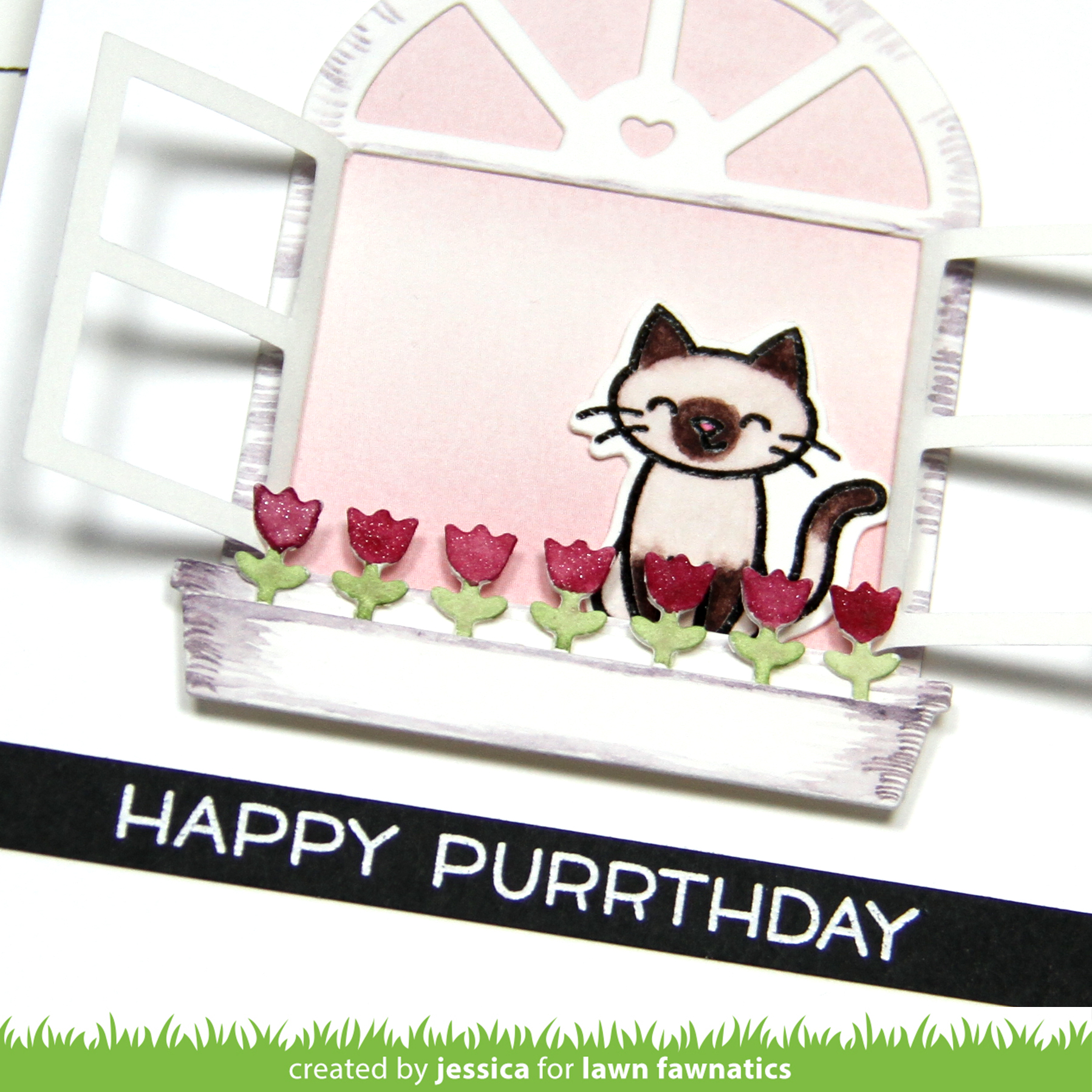 Happy Purrthday by Jessica Frost-Ballas for Lawn Fawnatics