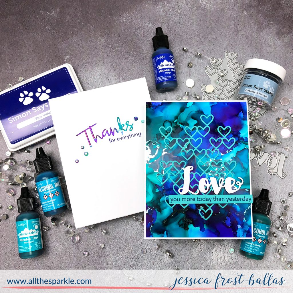 Adding Foil Accents to Alcohol Inked Backgrounds by Jessica Frost-Ballas for Simon Says Stamp