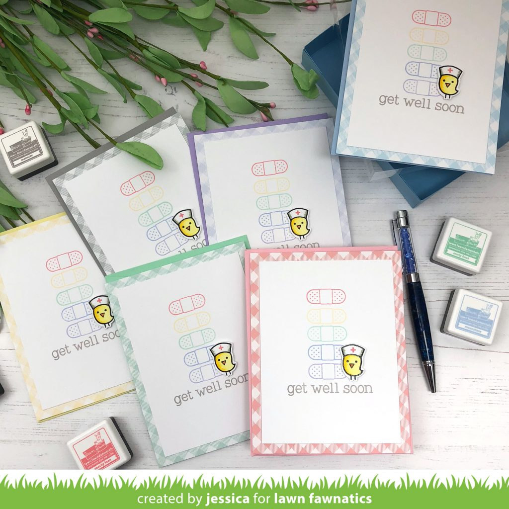 Get Well card set by Jessica Frost-Ballas for Lawn Fawnatics
