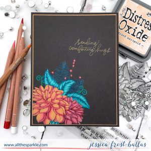 Sending Comforting Hugs - Luminance Pencils on Dark Cardstock by Jessica Frost-Ballas for Simon Says Stamp