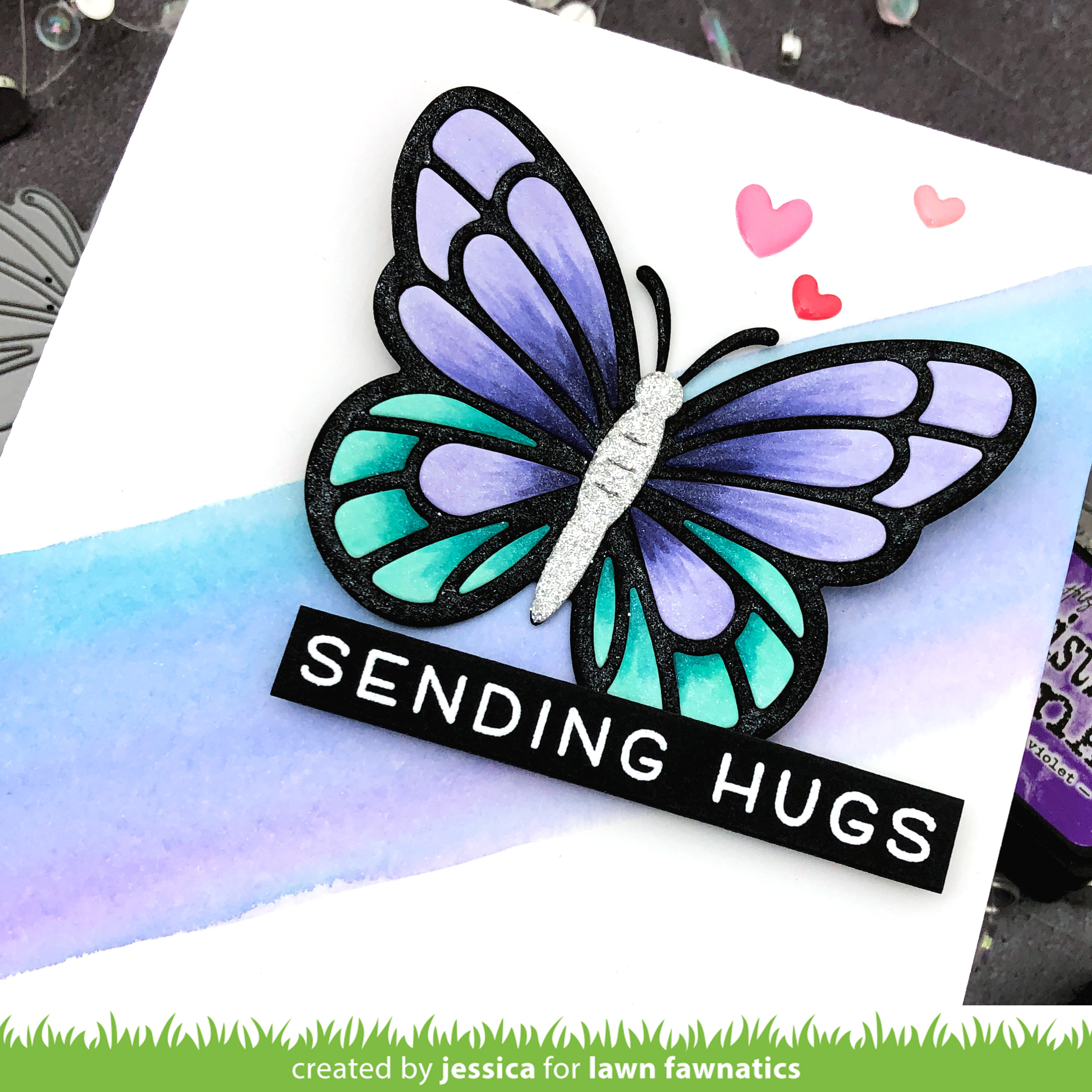 Sending Hugs by Jessica Frost-Ballas for Lawn Fawnatics