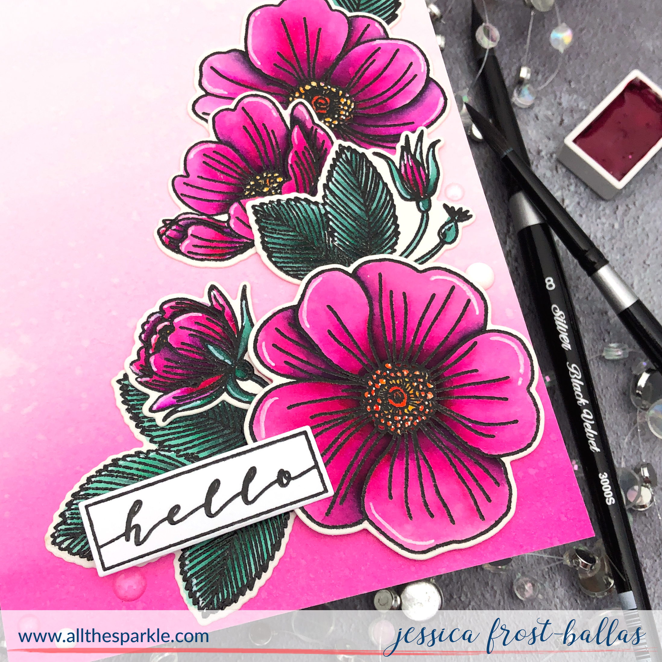 Hello by Jessica Frost-Ballas for Waffle Flower Stamps