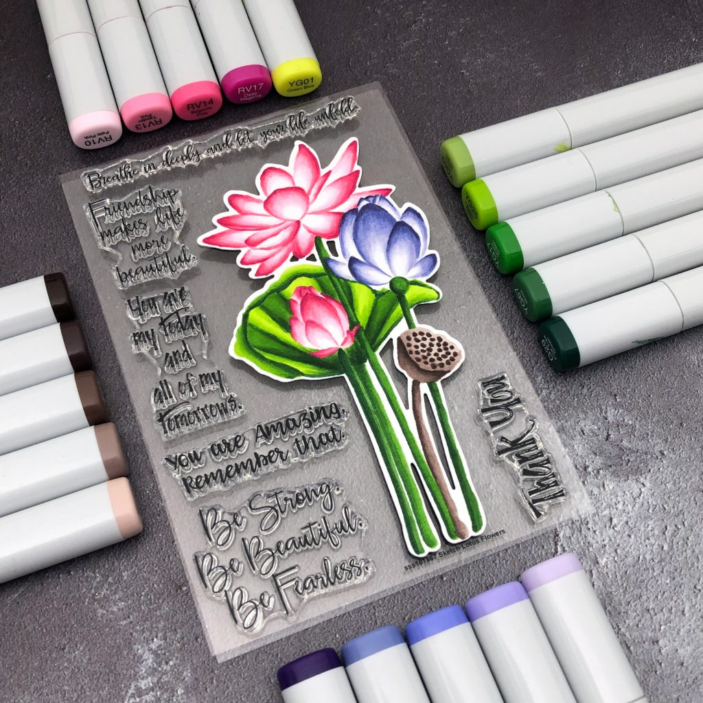 Sketch Lotus Copic Coloring by Jessica Frost-Ballas for Simon Says Stamp
