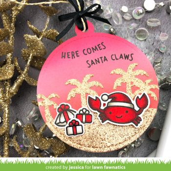 Here Comes Santa Claws Christmas Tag by Jessica Frost-Ballas for Lawn Fawnatics