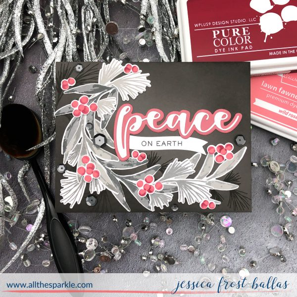Peace on Earth by Jessica Frost-Ballas for WPlus9 with Winter Greenery