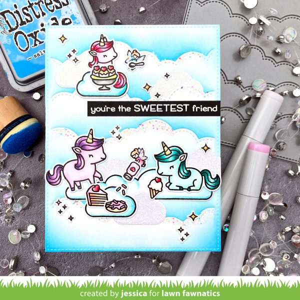 Unicorn Picnic by Jessica Frost-Ballas for Lawn Fawnatics