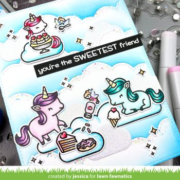 Unicorn Picnic by Jessica Frost-Ballas for Lawn Fawnatics