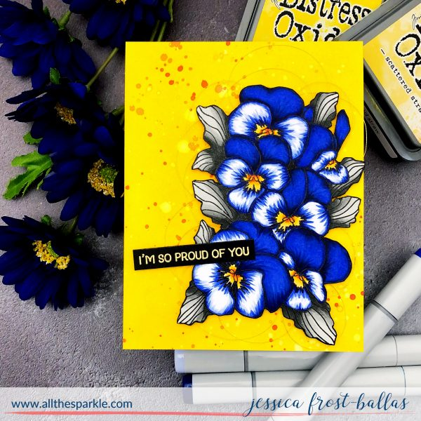 Pretty Pansies by Jessica Frost-Ballas for The Gray Muse Stamps