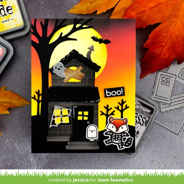 Scene Building with Lawn Fawn Halloween Card Lawn Fawnatics Challenge 86