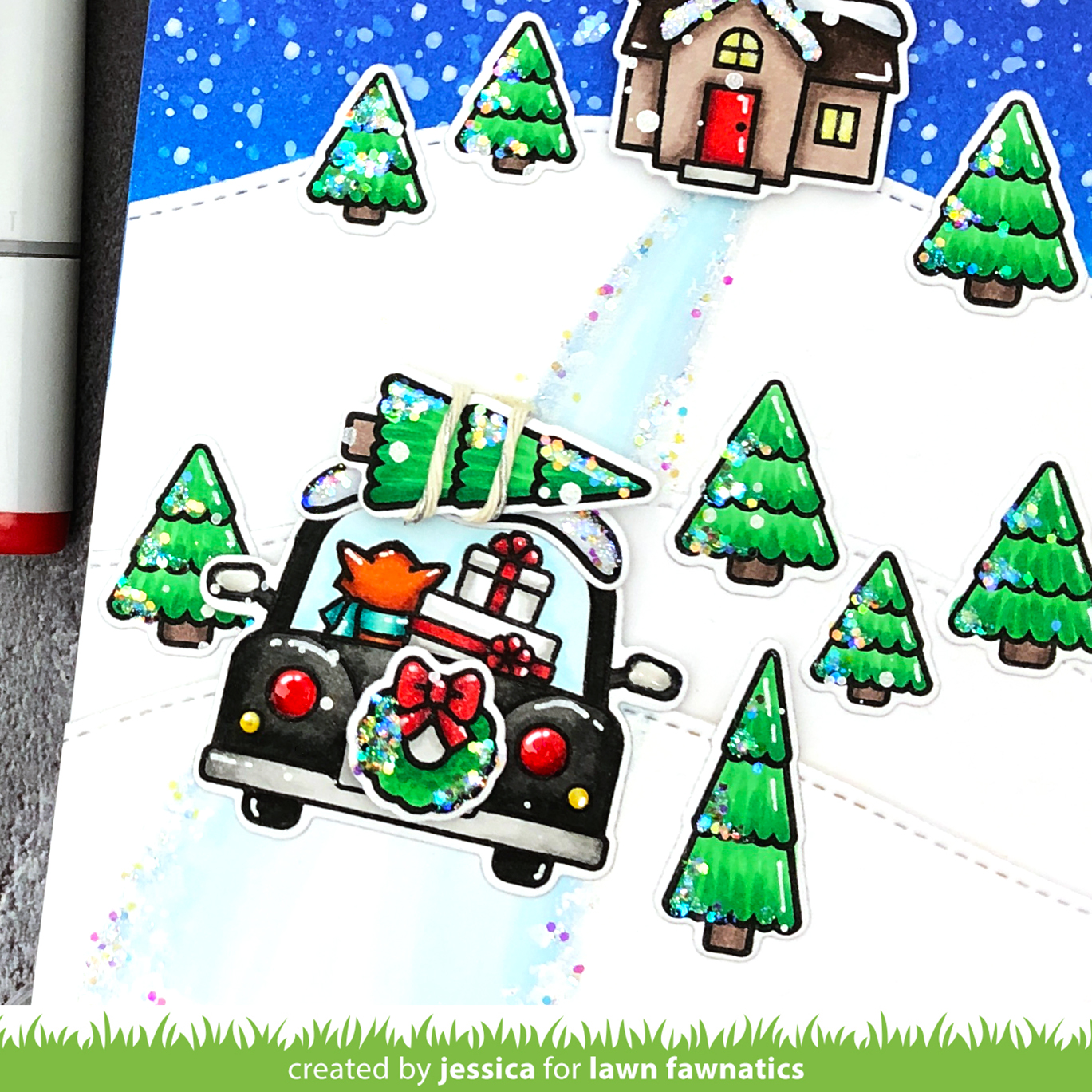 Christmas Scene Card with Car Critters by Jessica Frost-Ballas for Lawn Fawn