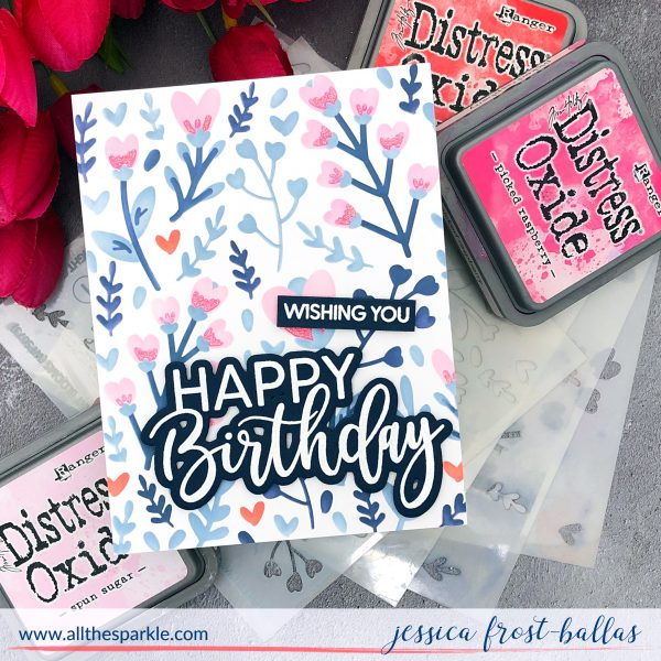 Heart Blooms stencil by Jessica Frost-Ballas for Waffle Flower
