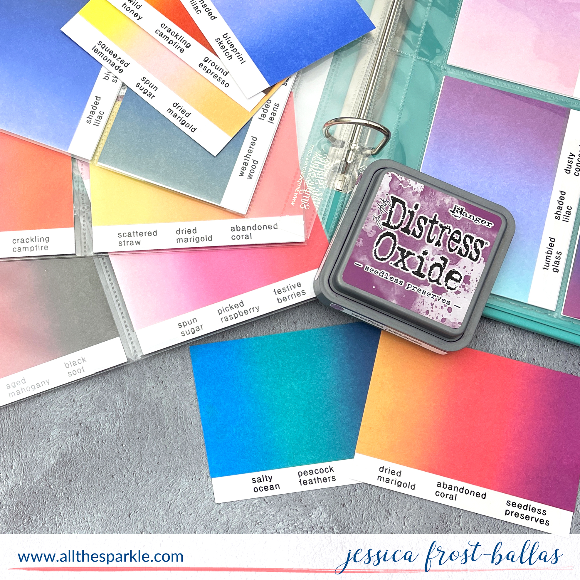 Distress Oxide Ink Blending Combinations and Swatch Book by Jessica Frost-Ballas https://youtu.be/4BdRiYhA8Eo