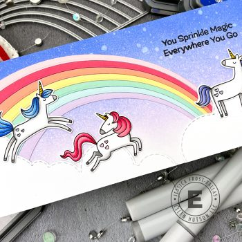 Unicorns and Rainbows by Jessica Frost-Ballas for Ellen Hutson - MFT Friendly Unicorns, Trinity Stamps Rainbow Builder
