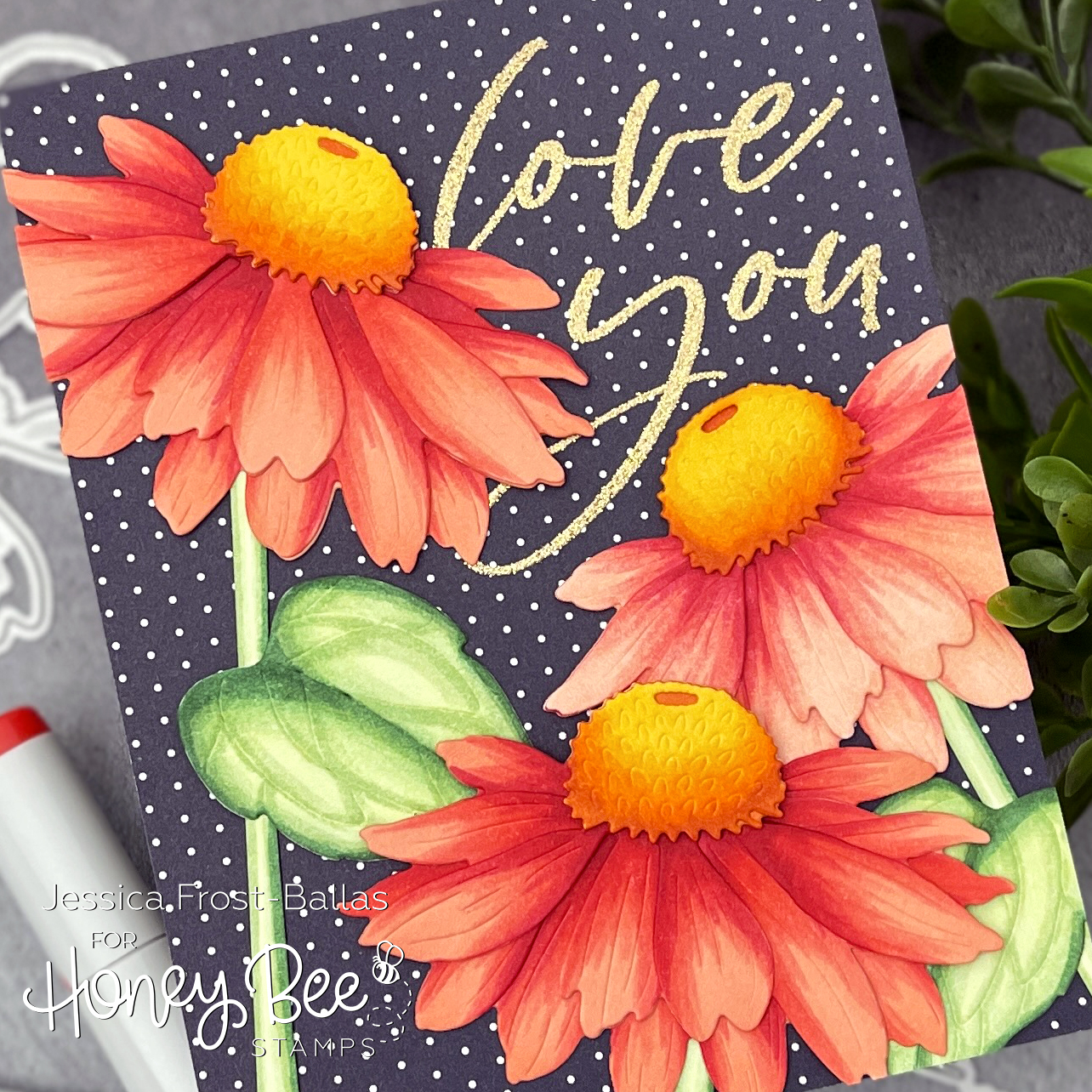 Lovely Layers Coneflower by Jessica Frost-Ballas for Honey Bee Stamps