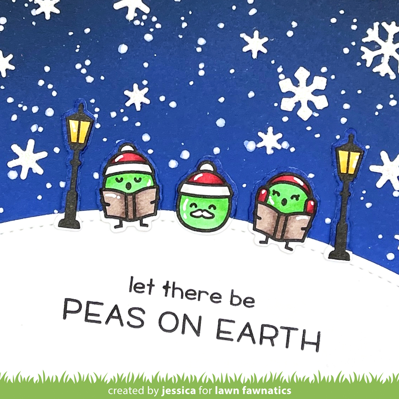 Peas on Earth by Jessica Frost-Ballas for Lawn Fawnatics