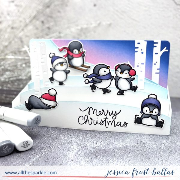 Penguins Go Skating by Jessica Frost-Ballas for Mama Elephant